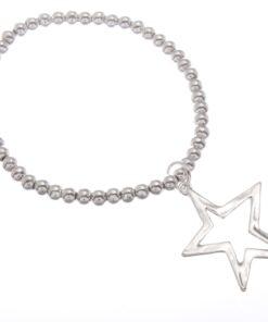 Beaded Stretch Bracelet with Drop Star