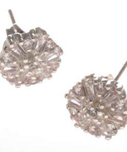 Swarovski Style Diamante Flower Stud Earrings